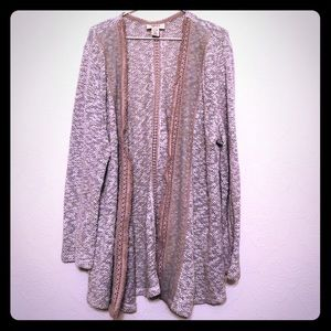 Open Cardigan with crochet lace detail on front